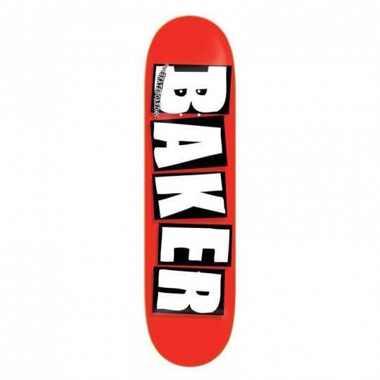 """Baker Brand Logo 8.125"""" Red/white Plateau Skateboard"""