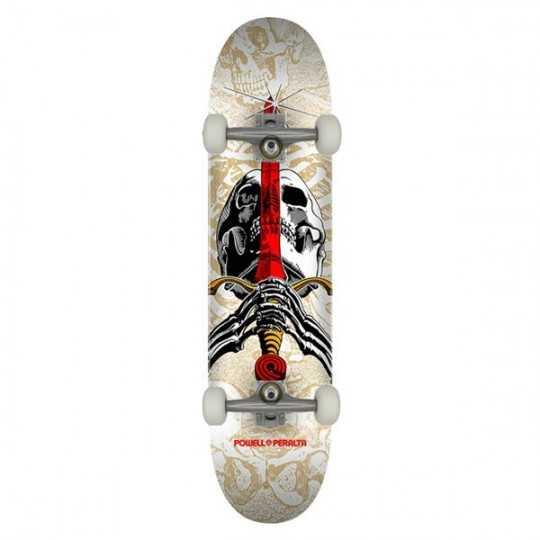 """Powell Peralta Skull & Sword PP 7.5"""" White Skateboard Complet"""